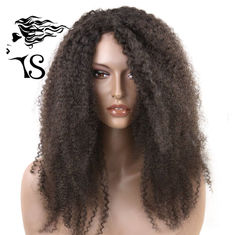 Natural Looking 1B Black Kinky Curly Hair Lace Front Wigs For Afro American Women